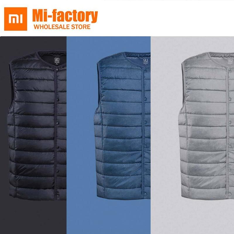все цены на New Xiaomi Sleeveless Jacket Winter Ultralight White Stand Collar Duck Down Vest Male Slim Vest Mens Windproof Warm Waistcoat онлайн
