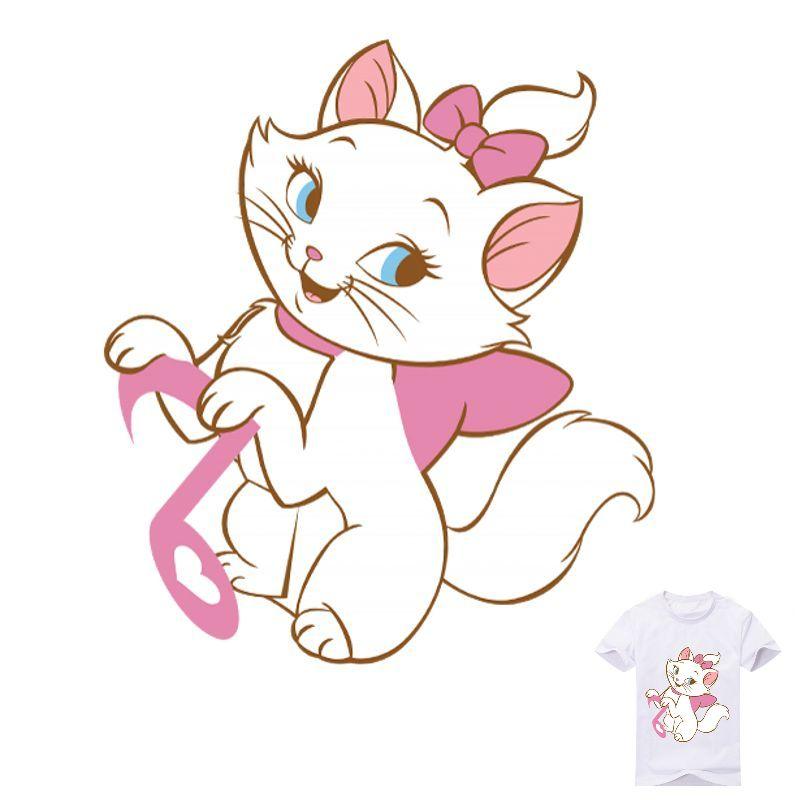 2 Szie Cute Cat Cartoon Iron Patches T Shirt Dresses Decoration Heat