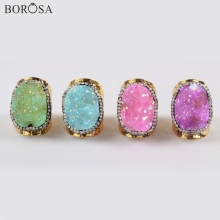 BOROSA 5Pcs Fashion Gold Color Rhinestone Paved Natural Agates Druzy Band Ring Rainbow Electroplated Drusy Rings Jewelry JAB964