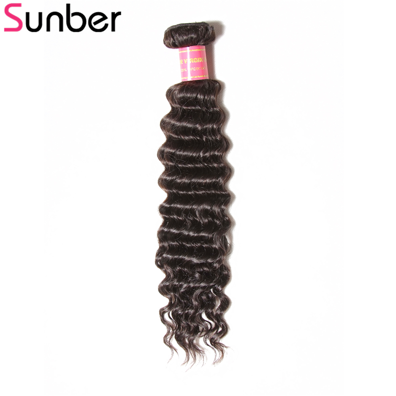 Sunber Hair Brazilian Deep Wave Human Hair Bundle 1 Piece Only 12-26 Inch Remy Hair Weaving Free Shipping
