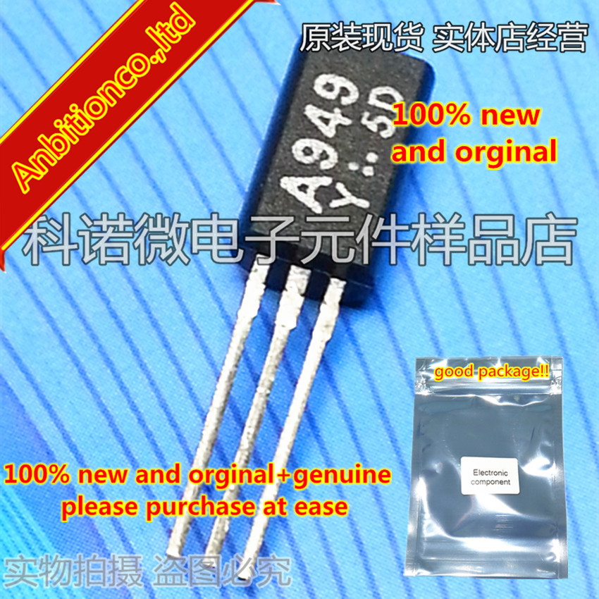 10pcs 100% New And Orginal  2SA949 A949 2SA949-Y TO-92   Driver-Stage Audio Amplifier Applications High-Voltage S In Stock