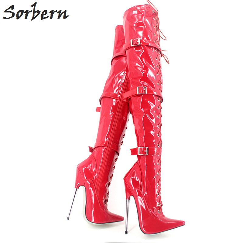 Sorbern Women Boots Plus Size Over The Knee Length Lace Up Metal Heels Pointed Toe Large Size 36-46 Fashion Ladies Party Boot plus size lace up leggings