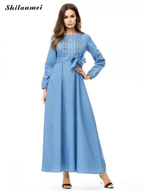 Vintage Long Sleeve Long Blue Denim Dress Belted Embroidery Plus Size Jeans  Dresses For Dubai Kaftan 73af2c03295f