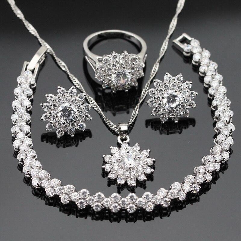 Weiß Zirkonia Silber Farbe Schmuck Sets Für Frauen Ohrstecker Armband Ringe Halskette Anhänger Weihnachtsgeschenk