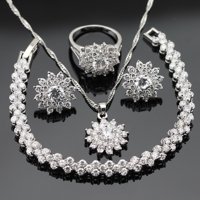 7bbb66c83 White Cubic Zirconia Silver Color Jewelry Sets For Women Stud Earrings  Bracelet Rings Necklace Pendant Christmas Gift