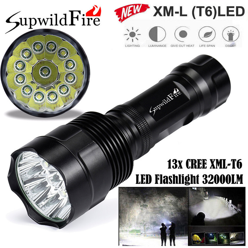 Super Bright 32000Lm 13x CREE XML T6 LED 5Mode 18650 Flashlight Torch Light Lamp 170509 super bright 11000 lumen 9 x cree xml t6 led torch 5 mode flashlight with extendable arm powered by 18650 rechargeable battery
