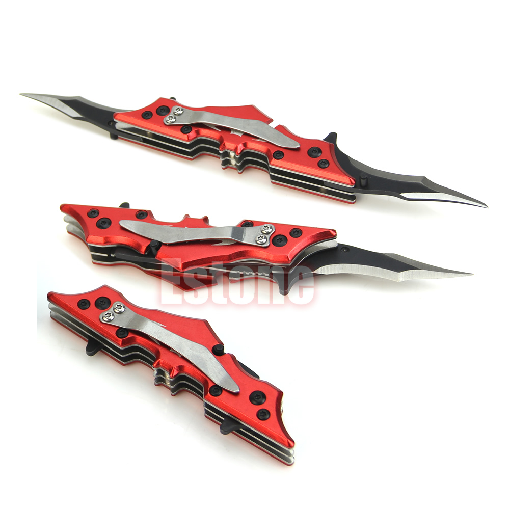New Outdoor Batman Two Dual Bladed Folding Knife Tool The Dark Knight