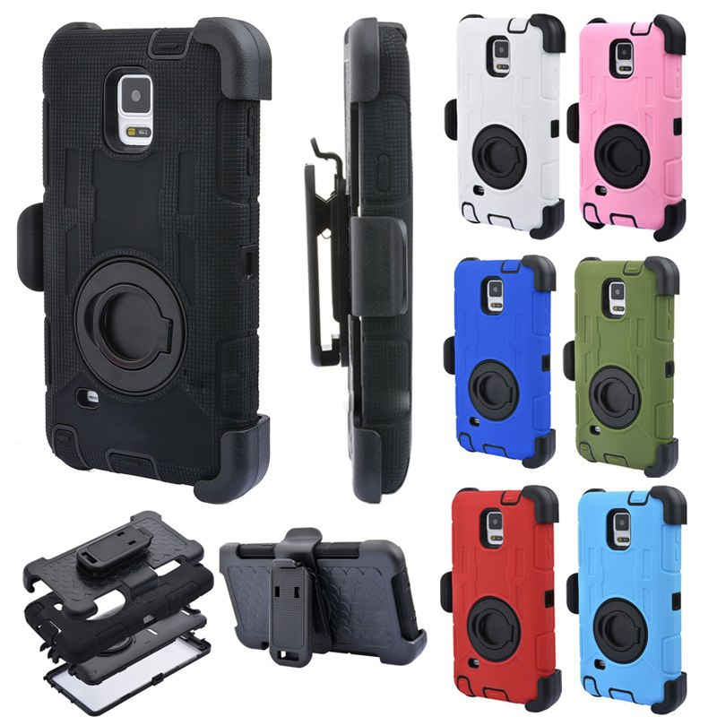 4 in 1 S5 S6 S7 Edge Rugged Armor Military Style+Belt Clip Holder Shockproof Hibrido Case For Samsung Galaxy S5 S6edge Silicone
