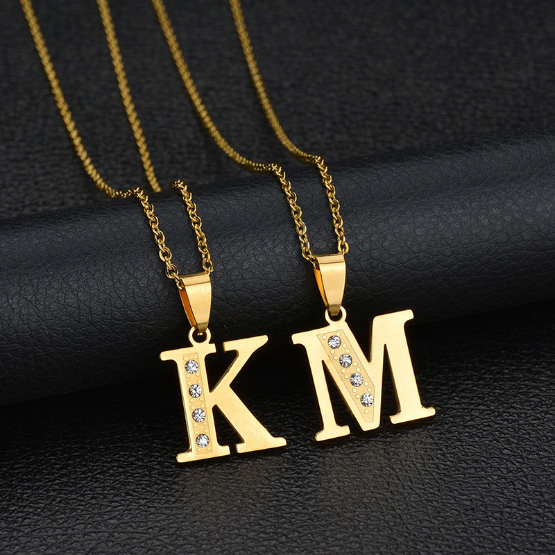 Simple 26 alfabet initial letter necklaces pendant gold color simple 26 alfabet initial letter necklaces pendant gold color crystal stainless steel chain necklace women kolye collier in pendant necklaces from jewelry aloadofball Gallery
