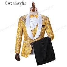 Gwenhwyfar qualité supérieure or jaune De Mariage Smokings de Marié Châle  Revers de Garçons D honneur Hommes Dîner De Bal Costum. 5a7895165c9