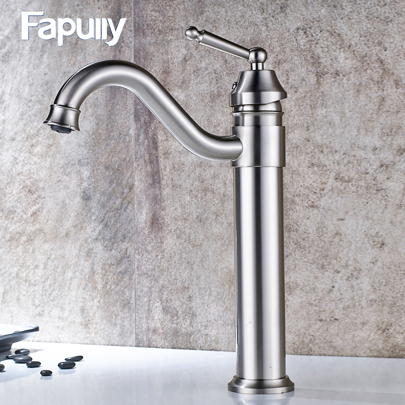 Fapully Bathroom Basin Sink Mixer Tap Polished Chrome Faucet Ceramic Waterfall Deck Mounted