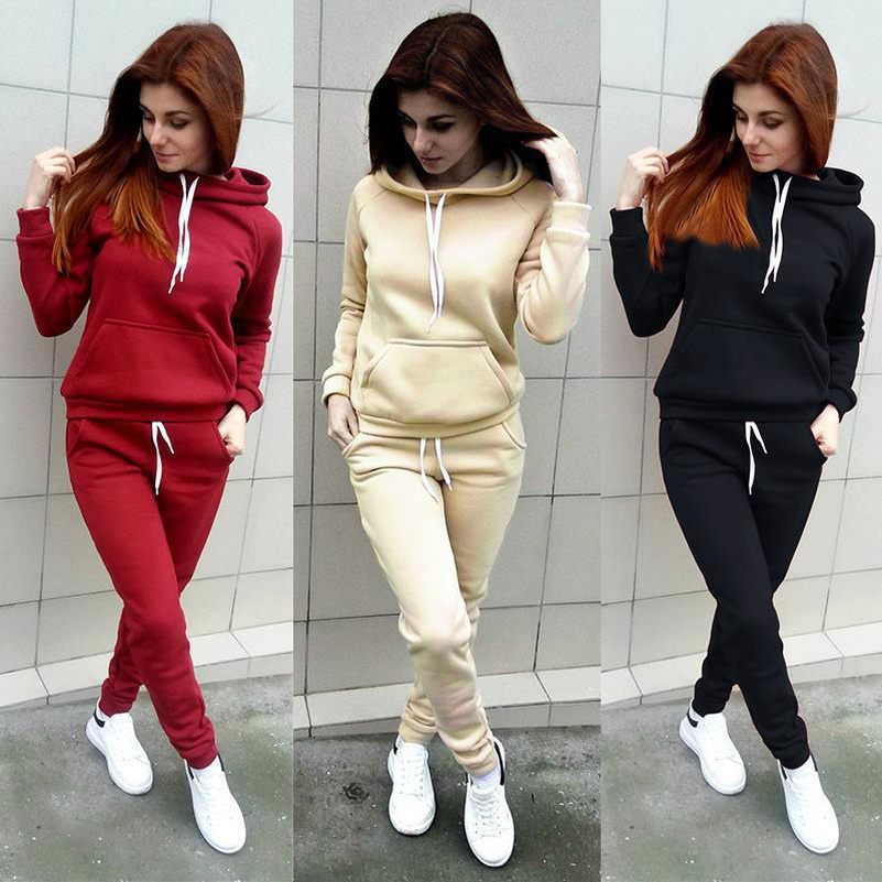 Lace Up Solid Hooded Suit Set 2019 Women Tracksuit Two-piece Sport Style Outfit Jogging Sweatshirt Fitness Lounge Sportwear