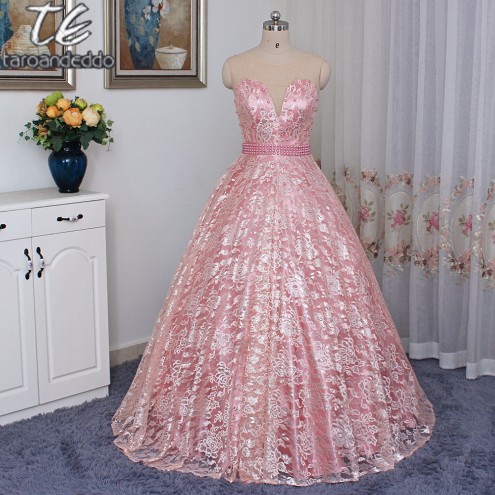 Sheer Jewel Neck Coral/Pink Lace Ball Gown Prom Dress Pearls Beading ...