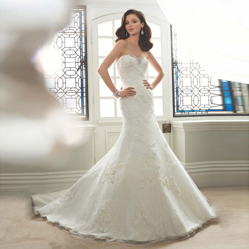 hot sale designer mermaid wedding dresses 2017 beaded sweetheart neckline lace applique bridal sexy bridal dress