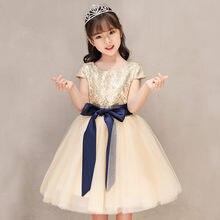 8edde8c4c Oro elegante encaje flor chica vestidos para la boda cumpleaños lentejuelas  vestido de primera comunión para