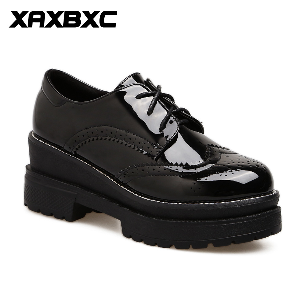 XAXBXC 2018 Retro British Spring Black PU Leather Brogue Platform Lace-Up Oxfords Women Shoes Handmade Casual Lady Shoes keloch genuine leather women platform brogue shoes for women british retro lace up oxfords female casual flats chaussure femme