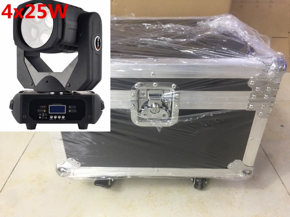 2pcs/lot with flight case LED Super Beam 4x25W LED moving head beam light for Bar effect led stage lighting DJ lamp factory price hot sales 2pcs lot 5r sniper stage light 5r lamp with zoom function scanner laser beam effect led stage lighting