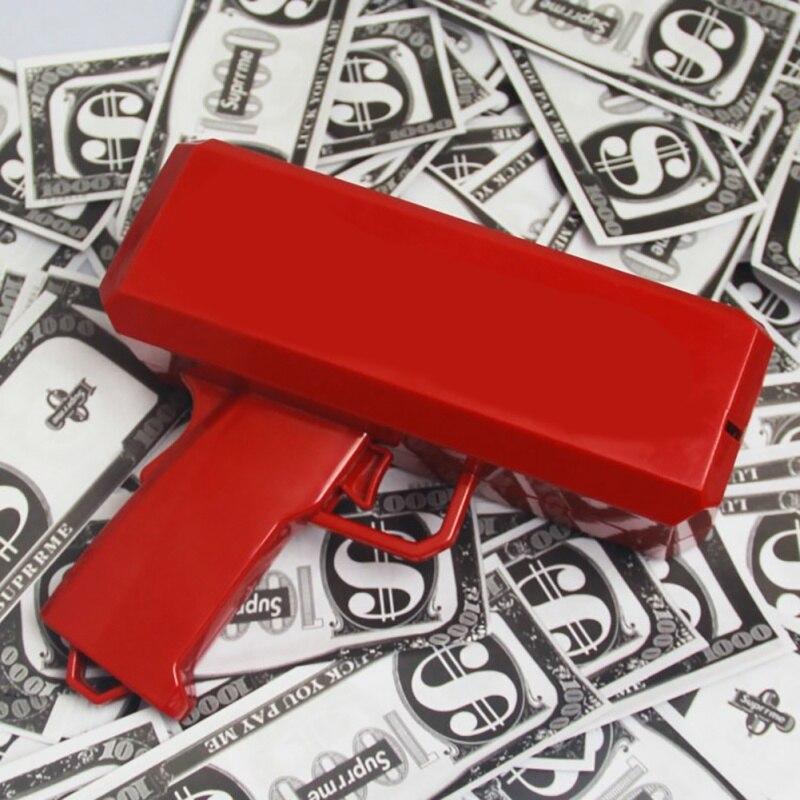 2018 In Contanti Cannone Spray Soldi Pistola Far Piovere Soldi giocattolo Sputare Banconote Pistola Rosso Regalo Di Natale Agitarsi Colpo di Decompressione giocattoli