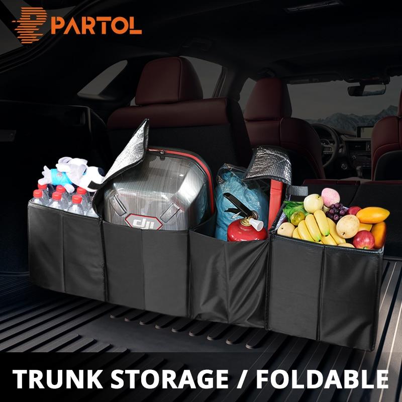 все цены на Partol Universal Big Size Car Trunk Storage Bag Auto Black 4 Pockets Organizer with Insulation Box for Food/Drinks Large Volume