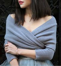 2019 autumn and winter new V-shaped cross-neck collar off-shoulder knit sexy pullover sweater off shoulder drawstring cuff knit sweater