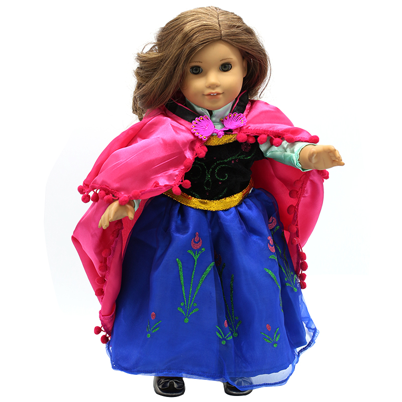 American Girl Doll Clothes Princess Anna Dress Doll Clothes for 16-18 inch Dolls Baby Doll Accessories X-3 american girl doll clothes halloween witch dress cosplay costume doll clothes for 16 18 inch dolls madame alexander doll mg 256