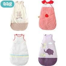 AAG Baby Cotton Sleeping Bag Envelope Children Zipper Slumber Sleeping Bag Newborn Sleeveless Sleepsacks For Summer Bedding 30