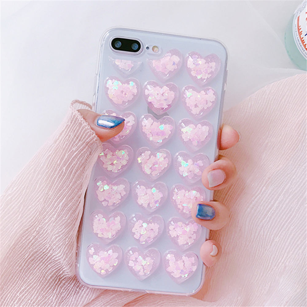 HTB1CF7aFwaTBuNjSszfq6xgfpXac - Ottwn 3D Love Heart Clear Phone Case For iPhone 11 Pro Max XS XR X 8 7 6 6s Plus 5 5s SE Bling Sequin Transparent Soft TPU Cover