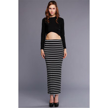2016 Lady Women Striped Bodycon Stretch Sexy Dress Long Sleeve Tops Blouse   Long Skirts