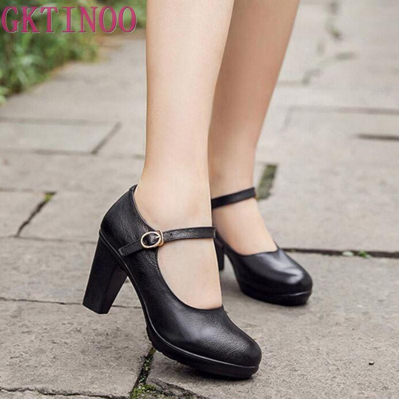 GKTINOO Genuine Leather shoes Women Round Toe Pumps Sapato feminino High Heels Shallow Fashion Black Work