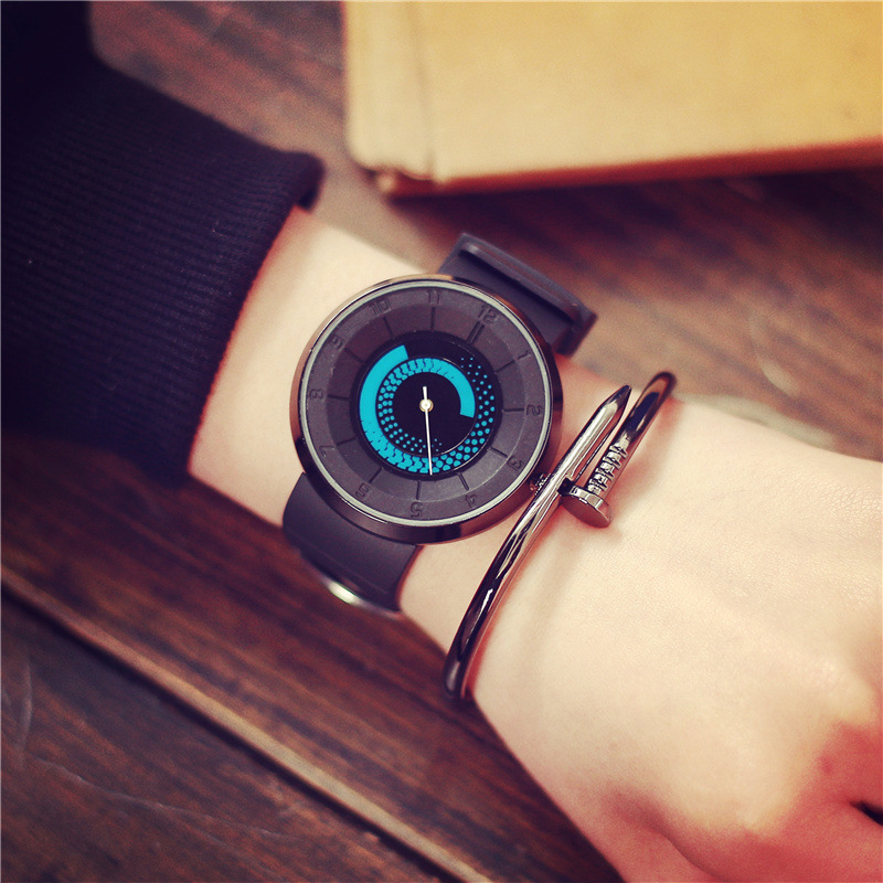 Turntable Unique Dial Creative Quartz Watch Fashion Casual Men Women Silicone Gifts Wristwatches Concept Design Unisex Watches