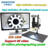 HD HDMI/USB video microscope 20 million pixel 10X 180X amplification electron microscope for mobile phone maintenance