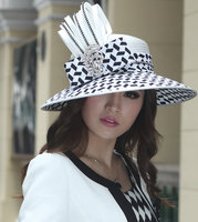 Free Shipping Women Formal Derby Church Wedding Cocktail Evening Beach Hat Diamond Vintage Wide Brim Fedora French Style Sun Cap