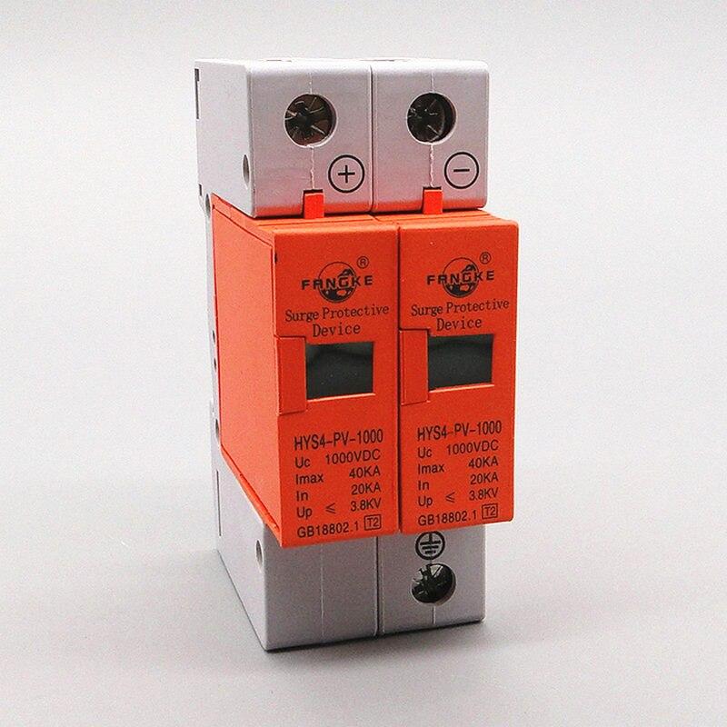 SPD DC 500V 800V 1000V 2P 20~40KA Surge Protection Device Arrester Low Voltage House 2 Poles Surge Protector