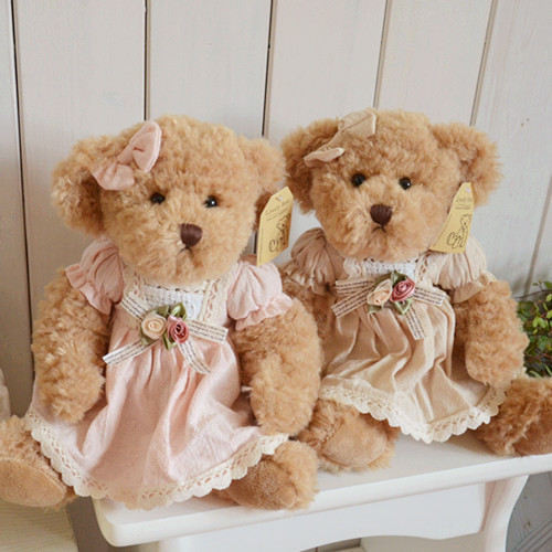 27cm 2 pieces teddy bear with cloth soft plush toy high quality girl gift valentine gift
