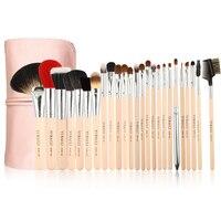 ISMINE 25Pcs Makeup Brush Set Wood Handle Powder Blusher Eyeshadow Brush Professional Make Up Brushes Cosmetic Tool with PU Bag
