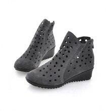Плюс размер 35-41 Новые летние ботинес mujer сапоги круглый носок удобные клинья каблуки ботильоны женская обувь вырез сандалии