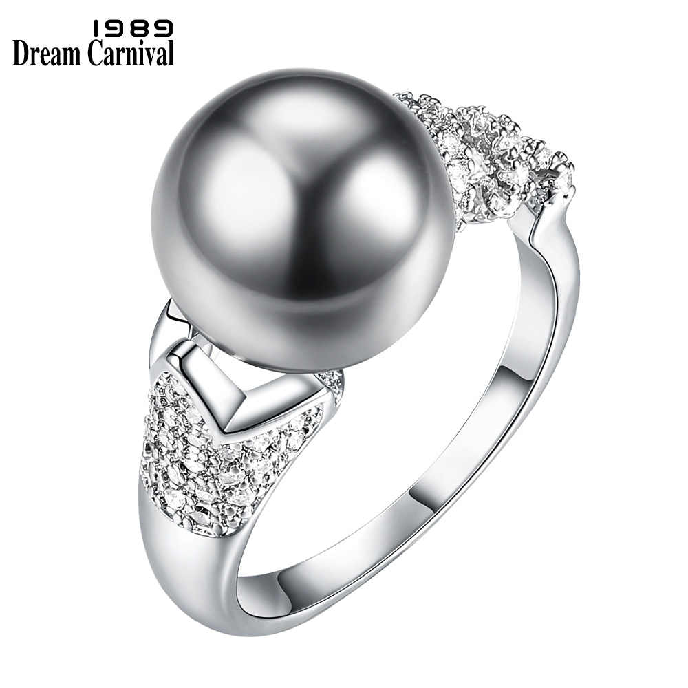 DreamCarnival 1989 Gorgeous Attractive Grey Synthetic Pearl Party Rings for Women White Cubic Zirconia Paved Bague Femme WA11495