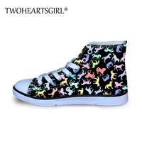 Twoheartsgirl Basketball Shoes Children Sneakers Cute Rainbow Color Horse Printing Flats Shoes Kids Boys High Top Canvas Shoe