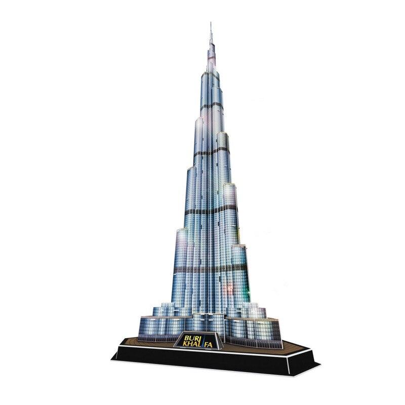 Puzzle 3D bricolage jouets Dubai Burj Khalifa modèle de construction jouets éducatifs avec lampe à LED pour cadeaux pour enfants