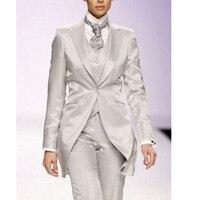 Для женщин s Торжественная одежда брючные костюмы серебристо серый элегантный Для женщин костюм индивидуальные 3 предмета длинная куртка ф