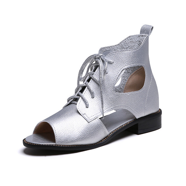 ec72124124 Low Heel Gladiator Sandals Women Soft Leather Summer Women Sandals Brand  New 117
