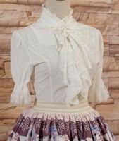 Lolita sweet Lolita court lotus waist sleeve chiffon collar strap lace shirt Lolita Blouse