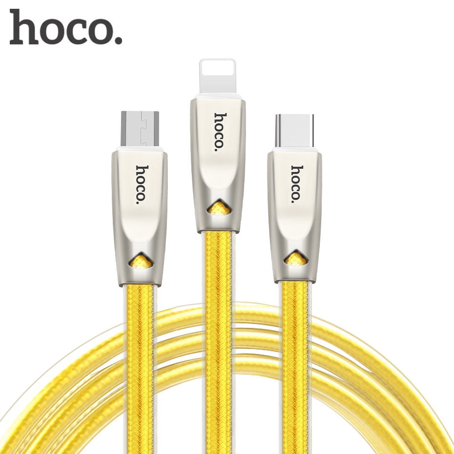 HOCO Three in One Zinc Alloy Jelly Knitted for Apple Plug Samsung Xiaomi Micro-USB Type-C Charging Data Sync Charger 3 in 1