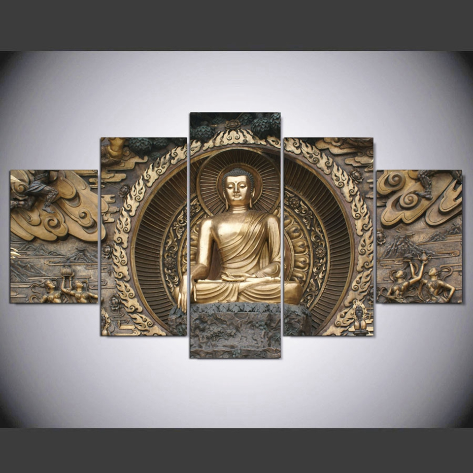 Canvas Painting Home Decor 5 Pieces Peaceful Buddha