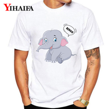 Men Women T Shirts Animal 3D Print Elephant Letters Graphic Tees Casual White Tee Shirt Unisex Tops Streetwear