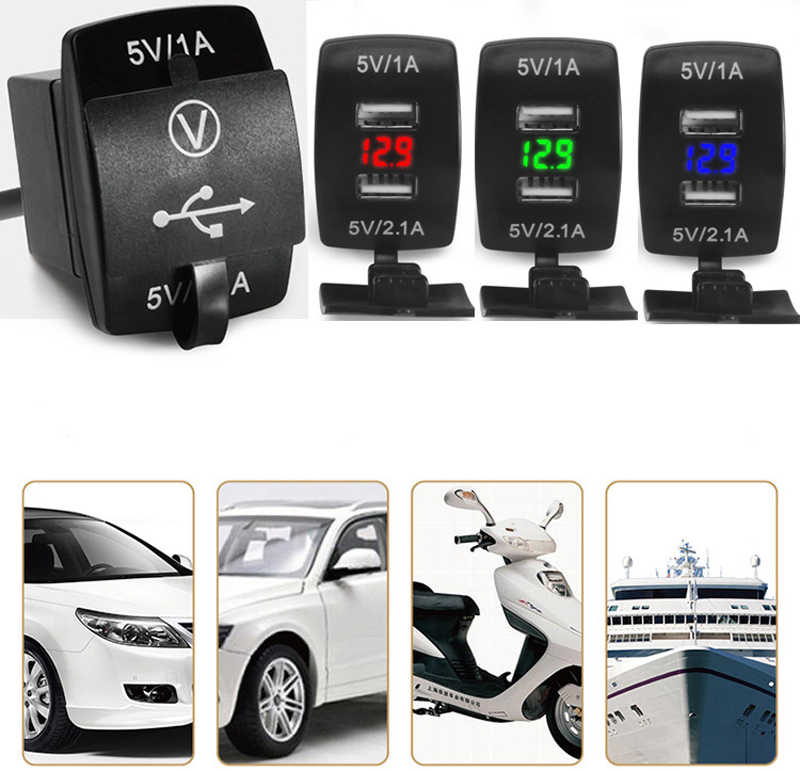 12 V/24 V 3.1A Auto Motorfiets Dual USB LED Charger Socket Voltage Voltmeter Panel JUN15 dropship