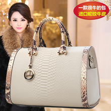 Genuine leather women's handbag 2015 autumn handbag serpentine pattern leather bag for BOSS bag bucket handbag