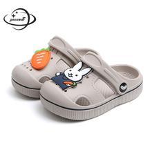 Детские сабо и сабо; летние сандалии для маленьких мальчиков и девочек; тапочки с кроликом на плоской подошве; детская садовая обувь; y17