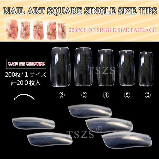 1bags/ lot 200pcs Japanese style clear full cover Acrylic Nail art ...