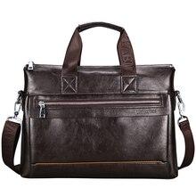 2019 New Vintage PU Leather Men Briefcase Multifunction Business Men Laptop Bag Fabric Waterproof Shoulder Messenger Bags